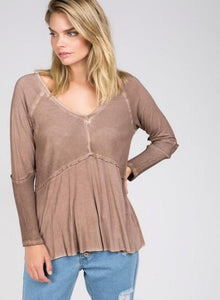 Light Wash Long Sleeve Cocoa Top