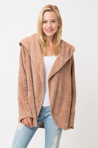 Fuzzy Mocha Hooded Jacket