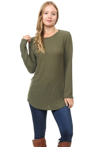 Knit Long Sleeve Tunic - Olive