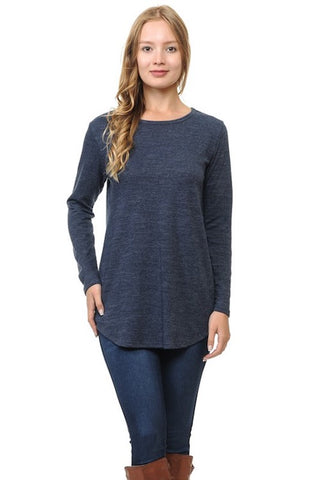 Slub Knit Long Sleeve Tunic - Navy