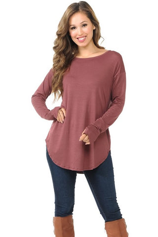 Curved Hem Top with Thumb Hole - Mauve
