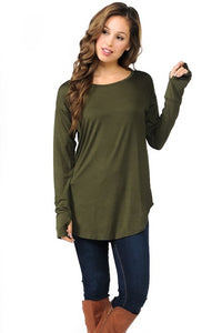 Curved Hem Top with Thumb Hole - Olive