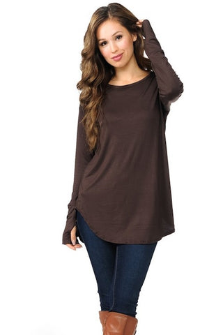 Curved Hem Top with Thumb Hole - Brown
