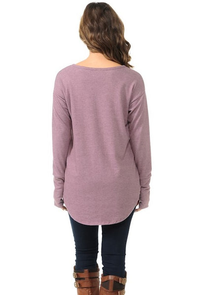 Brushed Fabric Curved Hem Top - Light Purple