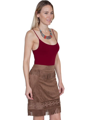 Microfiber Short Skirt with Fringe
