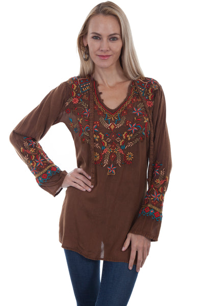 Folklore Embroidered Cinnamon Shirt
