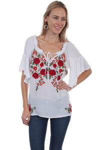 Carly Floral Embroidered White Top