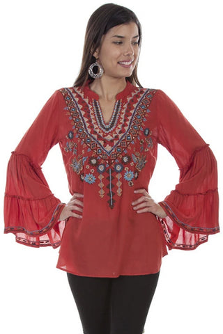 Sunset Embroidered Shirt with Bell Sleeves