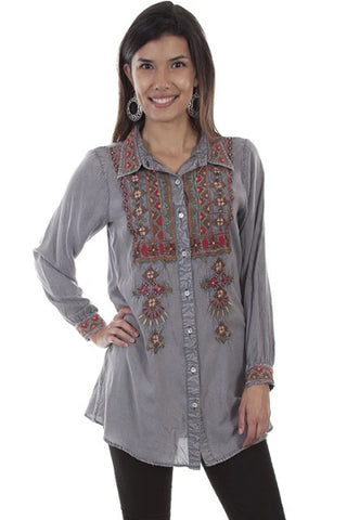 Grey Embroidered Long Sleeve Button Down