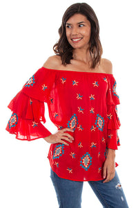 Red Embroidered Siesta Top