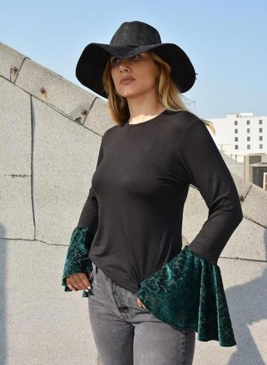 Rayon Black Top with Green Burnout Velvet Flute Sleeve