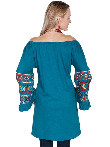 Off Shoulder Tunic with Embroidered Sleeves