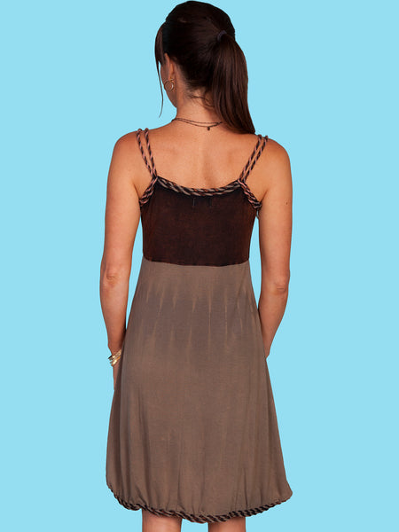Cotton Embroidered Dress in Brown