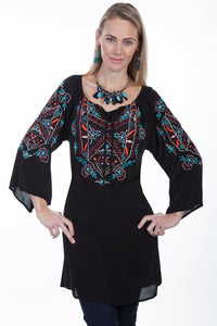 Embroidered Tunic with Tie Front