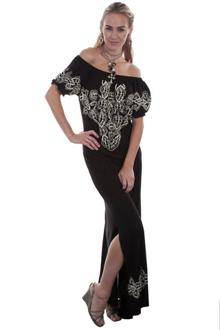 Long Dress with Embroidery and Side Slits