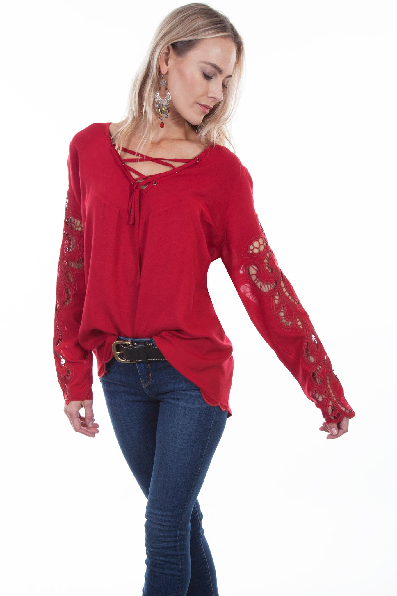 HI/LO Blouse with Crochet Sleeves