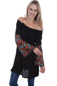Mesh Embroidered Sleeves Tunic