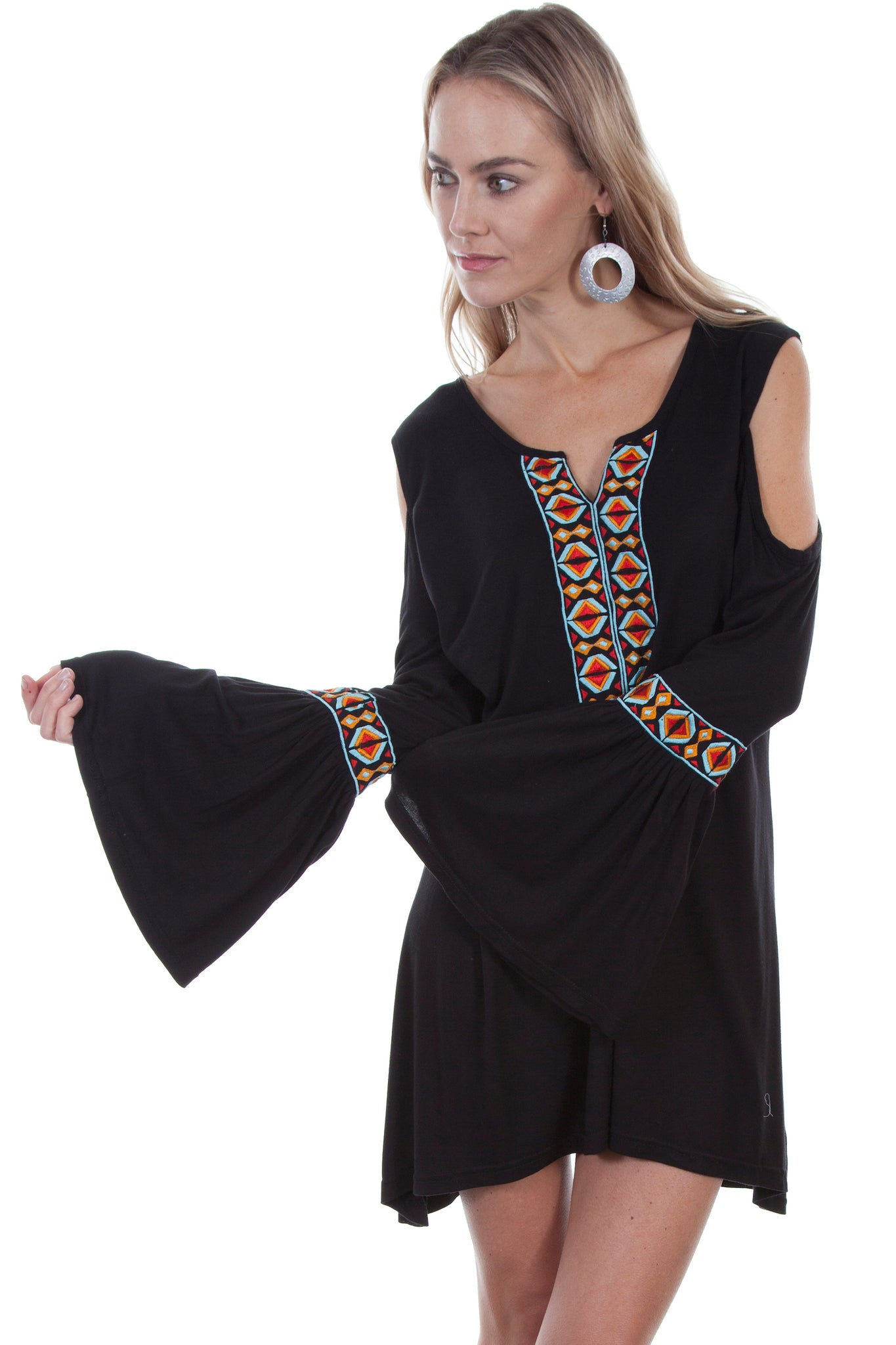Cold Shoulder with Aztec Embroidery