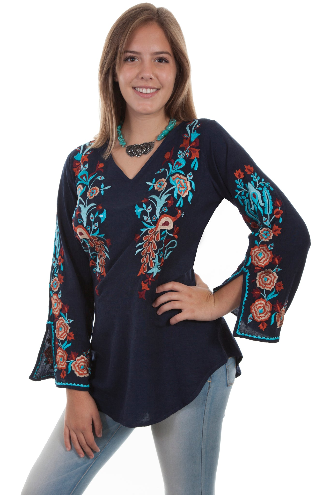 Peacock Embroidered Blouse