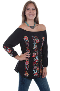 Embroidered Gathered Scoop Neck Tunic