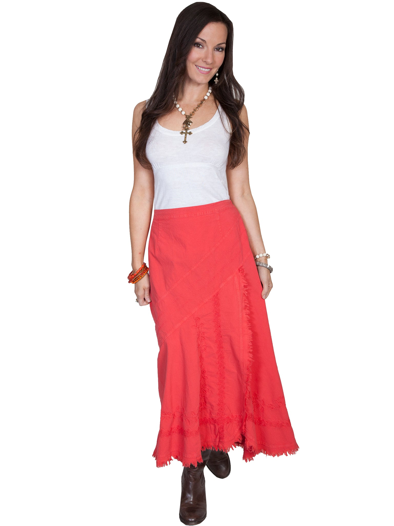 Raw Edge Skirt in Cayenne