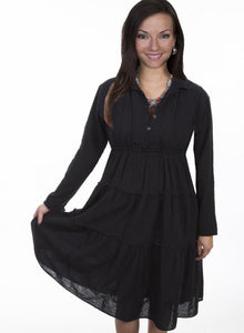Long Sleeve Multi-panel Dress with Collar