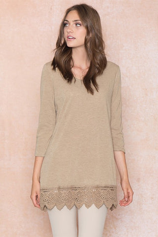 Basic Crochet Hem Top - Taupe
