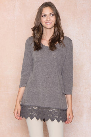 Basic Crochet Hem Top in Charcoal