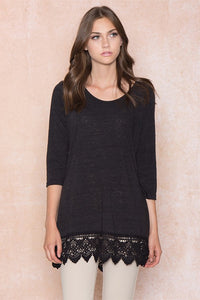 Basic Crochet Hem Top in Black