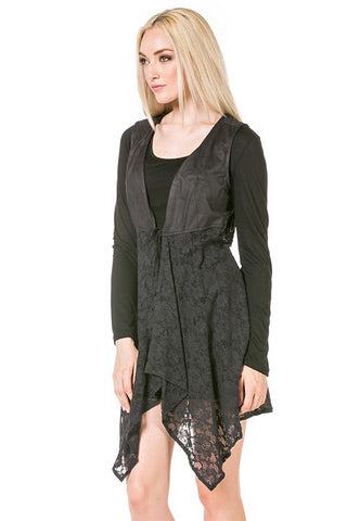 Faux Suede Tunic Long Sleeve Vest