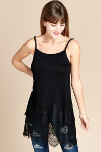 Sheer Lace Hem Extender Solid Tank Top in Black