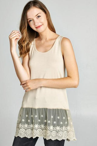Layering Tank Top with Embroidered Lace Hem in Taupe