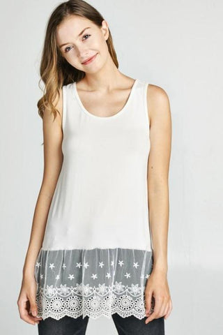 Layering Tank Top with Embroidered Lace Hem in Off White