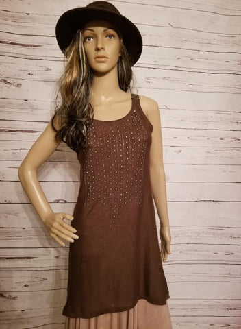 Studded Front Crochet Back Tank - Brown