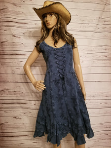 Sleeveless Front & Back Lace Up Dress - Denim Blue