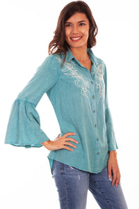 Embroidered Teal Blouse with Ruffle Bell Sleeves