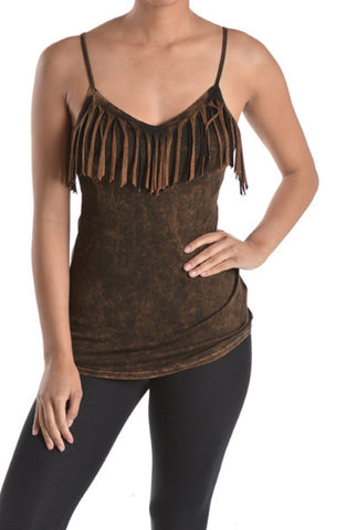 Fringe Cami Top - Brown