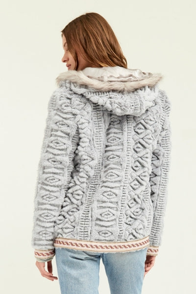 Embroidered Grey Faux Fur Hooded Jacket