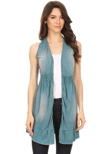 Trim Ruffle Detail Mid Length Vest