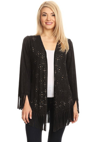 Fringe Studded Cardigan - Black