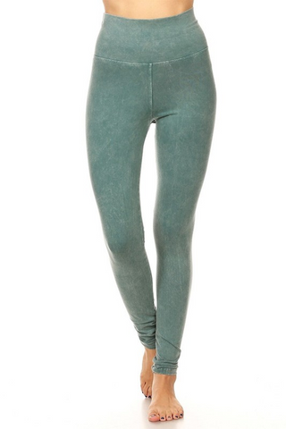 Mineral Wash Foldover Legging in Sea Green