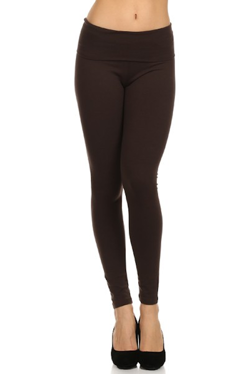 Basic Foldover Solid Leggings - Brown
