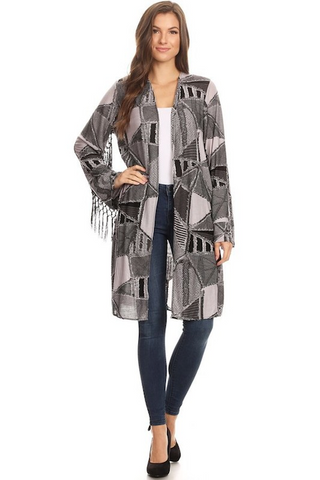 Fringe Detailed Long Sleeve Midi Cardigan