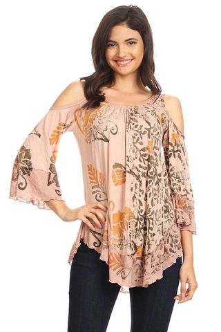 Flower Batik Cold Shoulder Top