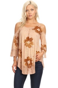 Flower Art Dye Cold Shoulder Top