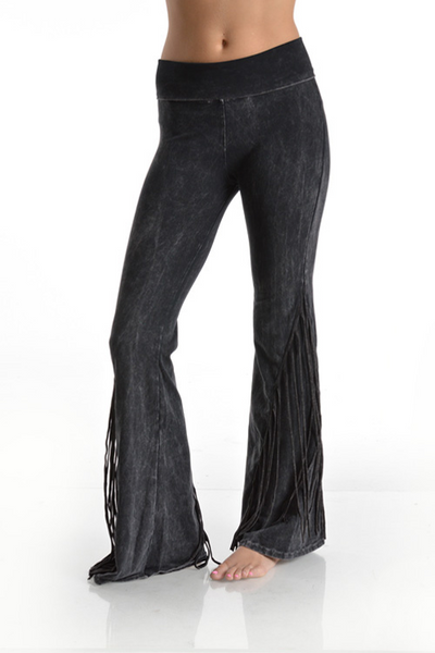Mineral Wash Fringe on the Side Foldover Pants