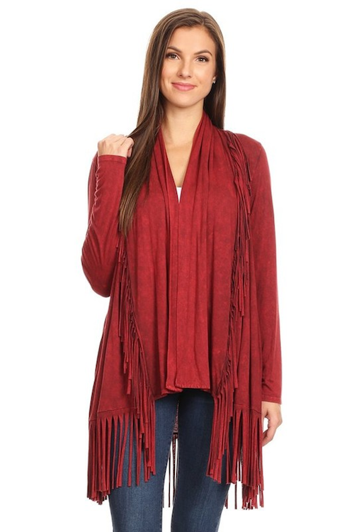 Fringe Open Cardigan - Red