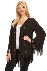 Fringe Studded Cardigan - Brown