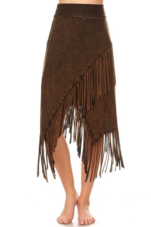 Kali Fringe Skirt in Brown Mineral Wash