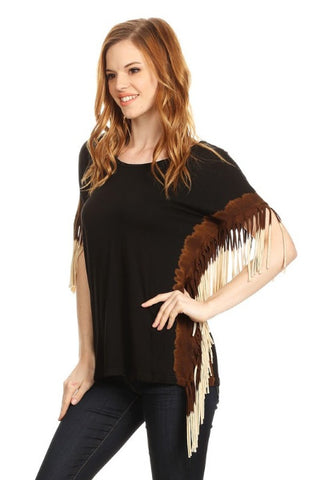 Ombre Fringe Short Sleeve Shirt